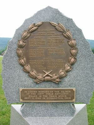 Coshocton Train Wreck Memorial image. Click for full size.
