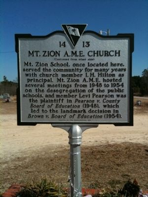 Mt. Zion A.M.E. Church Marker (reverse) image. Click for full size.