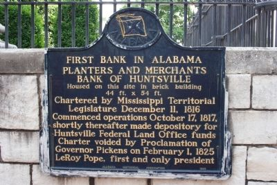 First Bank In Alabama Marker image. Click for full size.