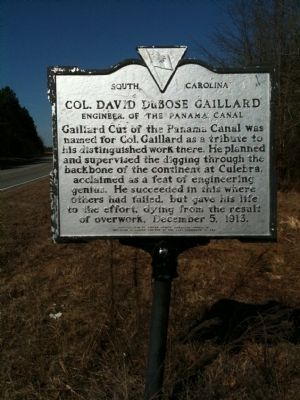 Col. David Dubose Gaillard Engineer Of The Panama Canal Marker (reverse) image. Click for full size.