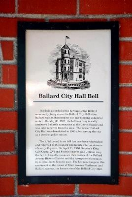 Ballard City Hall Bell Marker image. Click for full size.