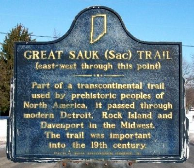 Great Sauk (Sac) Trail Marker image. Click for full size.