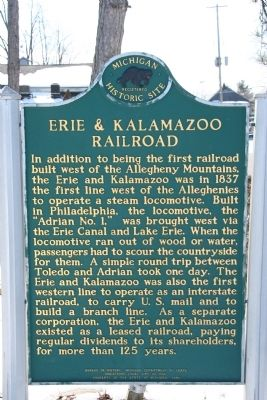 Erie & Kalamazoo Railroad Marker image, Touch for more information