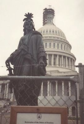 The Statue of Freedom - under renovation, 1993 image. Click for full size.