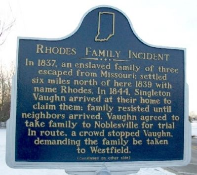 Rhodes Family Incident Marker (Side A) image. Click for full size.