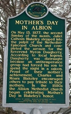 Mother's Day In Albion Marker (Front) image. Click for full size.