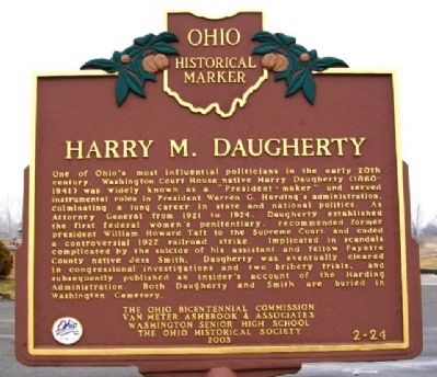 Harry M . Daugherty Marker image. Click for full size.