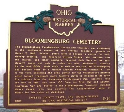 Bloomingburg Cemetery Marker image. Click for full size.