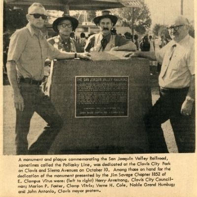 The San Joaquin Valley Railroad Marker image. Click for full size.