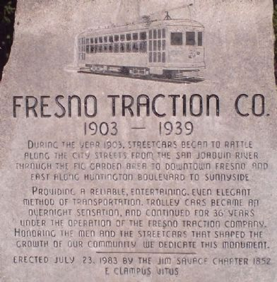 Fresno Traction Company Marker image. Click for full size.