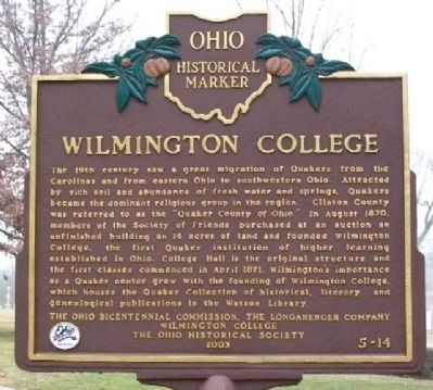 Wilmington College Marker image. Click for full size.