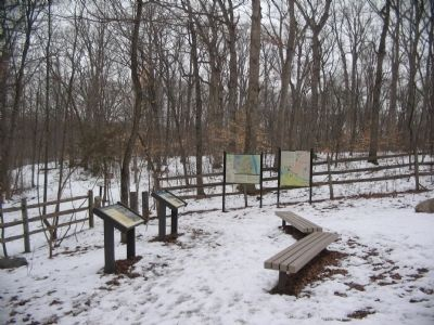 Markers at the Trailhead for Balls Bluff image. Click for full size.