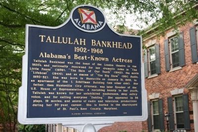Tallulah Bankhead / I. Schiffman Building Marker Side A image. Click for full size.