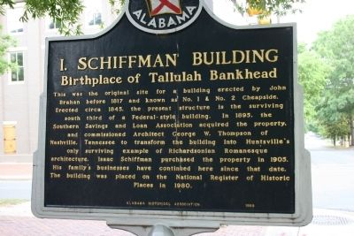 Tallulah Bankhead / I. Schiffman Building Marker, Side B image. Click for full size.