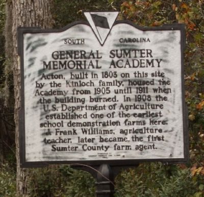 General Sumter Memorial Academy Marker, reverse side image. Click for full size.