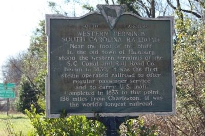 Western Terminus South Carolina Railroad Marker image. Click for full size.