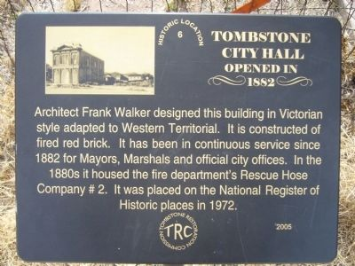 Tombstone City Hall Marker image. Click for full size.