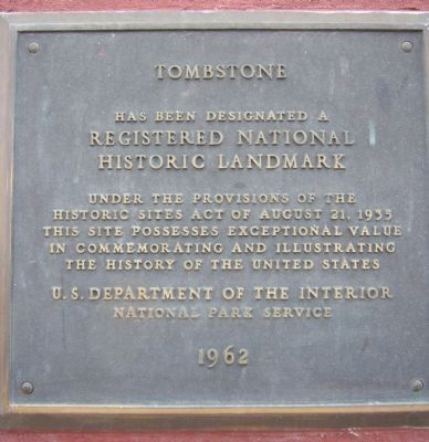 Tombstone National Historical Landmark Plaque image. Click for full size.