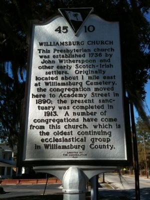 Williamsburg Church Marker image. Click for full size.