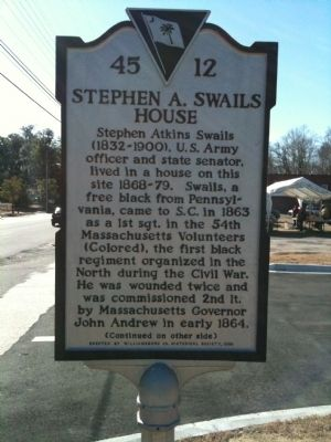 Stephen A. Swails House Marker (front) image. Click for full size.
