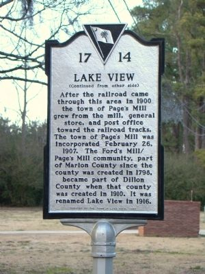 Lake View Face of Marker image. Click for full size.