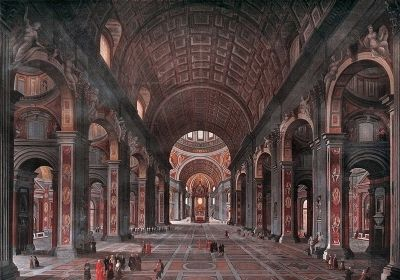 Painting of the interior of St. Peter's in Rome by George Cooke 1847 image. Click for full size.