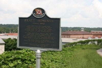 Pratt Homesite Marker with the Cotton Gin Factory in the background image. Click for full size.