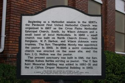 Piedmont First United Methodist Church Marker image. Click for full size.