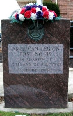 American Legion Post No. 49 Veterans Memorial image. Click for full size.