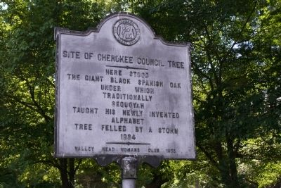 Site of Cherokee Council Tree Marker image. Click for full size.