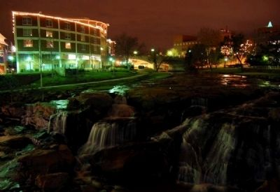 Falls Place and the Reedy River Falls at Night image. Click for full size.