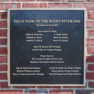 Falls Place on the Reedy River - 2004<br>Located on the Elevator Adjacent to Falls Place image. Click for full size.