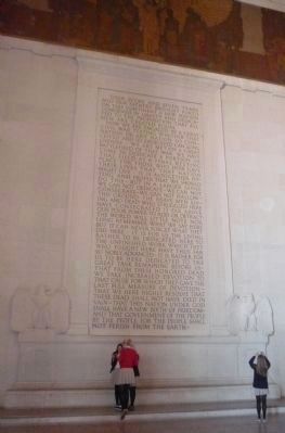 "Lincoln Memorial, south wall - <br><center>""The Gettysburg Address"" image. Click for full size."