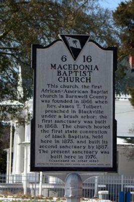 Macedonia Baptist Church Marker image. Click for full size.
