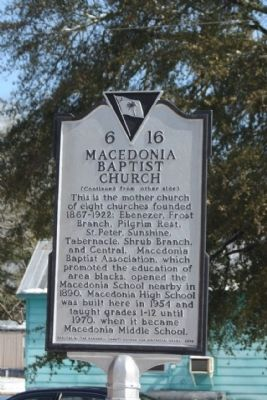 Macedonia Baptist Church Marker, reverse side image. Click for full size.