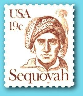 Sequoyah Commemorative Stamp image. Click for full size.