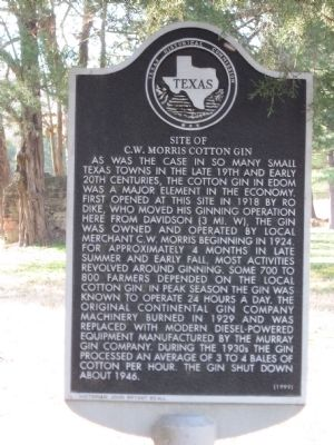 Site of C.W. Morris Cotton Gin Marker image. Click for full size.