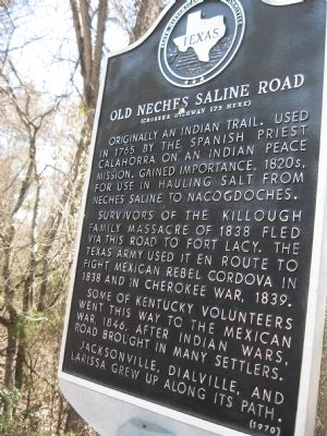 Old Neches Saline Road Marker image. Click for full size.