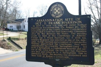 Assassination Site of Sgt. E. Frank Harrison Marker image. Click for full size.