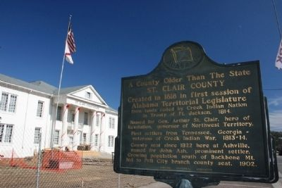 A County Older Than The State, St. Clair County Marker In Front of the St. Clair County Courthouse image. Click for full size.