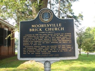 Mooresville Brick Church Marker (side 1) image. Click for full size.