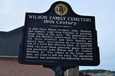Wilson Family Cemetery 19th Century Marker - Side A image. Click for full size.