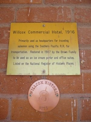 Willcox Commercial Hotel 1916 Marker image. Click for full size.