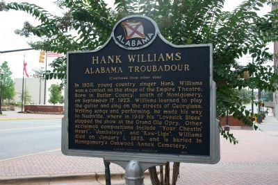 Hank Williams Alabama Troubadour Marker - Side B image. Click for full size.