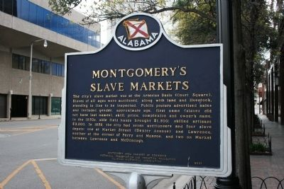 Montgomery's Slave Markets / First Emancipation Observance - 1866 Marker Side A image. Click for full size.