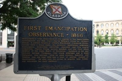 Montgomery's Slave Markets / First Emancipation Observance - 1866 Marker Side B image. Click for full size.