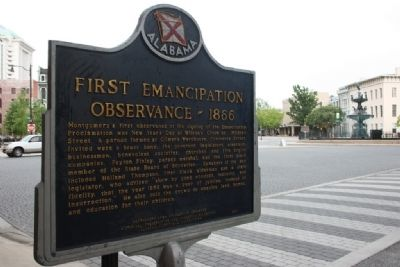 Montgomery's Slave Markets / First Emancipation Observance - 1866 Marker and Court Square Fountain image. Click for full size.