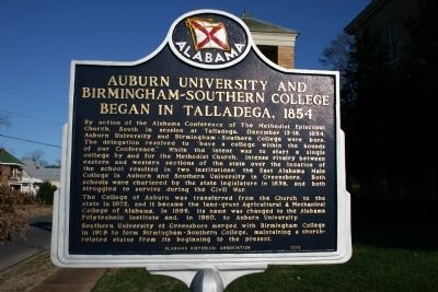 Auburn University And Birmingham-Southern College Began In Talladega, 1854 Marker image. Click for full size.