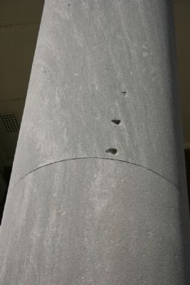Scars from rifle fire on the Old State Bank Columns image. Click for full size.