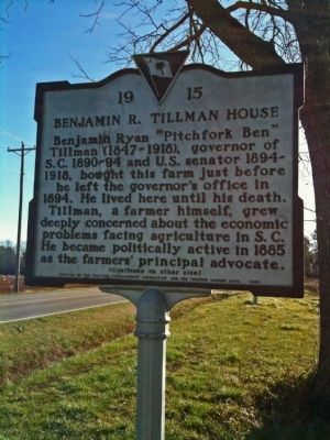 Benjamin R. Tillman House Marker (front) image. Click for full size.